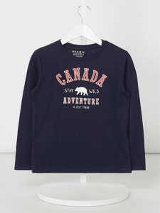 Granatowa koszulka dziecięca Review For Kids z bawełny
