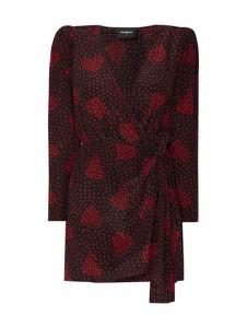 Sukienka The Kooples z długim rękawem z jedwabiu z dekoltem w kształcie litery v