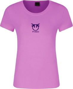 Różowy t-shirt Pinko z okrągłym dekoltem