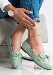 Zielone buty Czasnabuty z płaską podeszwą