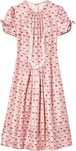 Różowa sukienka Marc Jacobs z okrągłym dekoltem w stylu casual z krótkim rękawem