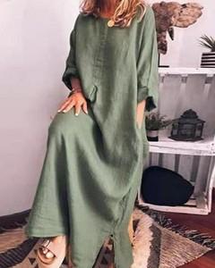 Sukienka Kendallme z okrągłym dekoltem z długim rękawem maxi