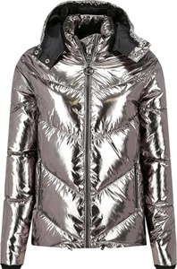 Srebrna kurtka Karl Lagerfeld w stylu glamour