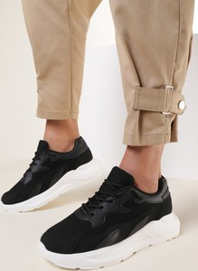 Czarne buty sportowe Renee sznurowane