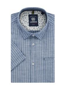 Niebieska koszula Lerros z klasycznym kołnierzykiem z bawełny z krótkim rękawem
