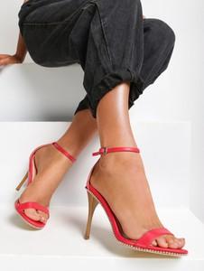 Czerwone sandały Renee na szpilce na wysokim obcasie z klamrami