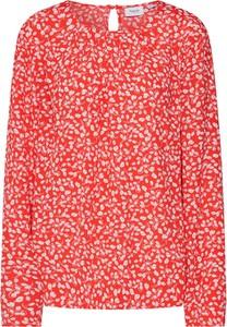 Czerwona bluzka Saint Tropez z okrągłym dekoltem z długim rękawem