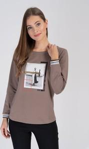 Brązowa bluzka Cotton Club z bawełny z okrągłym dekoltem