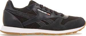 Brązowe buty sportowe Reebok z płaską podeszwą z nubuku sznurowane