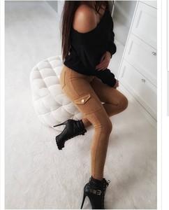 Brązowe spodnie Divinostyle w militarnym stylu