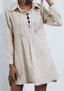 Sukienka Cikelly z długim rękawem koszulowa w stylu casual