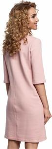Różowa sukienka MOE mini z długim rękawem z bawełny
