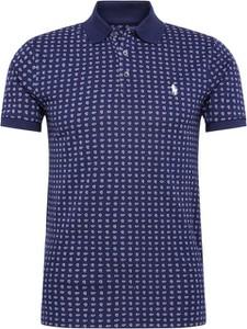 Granatowy t-shirt POLO RALPH LAUREN z krótkim rękawem z tkaniny