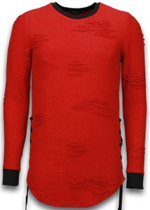 Czerwony sweter Justing w stylu casual z wełny