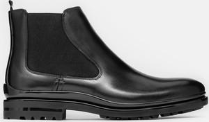 Czarne buty zimowe Kazar ze skóry