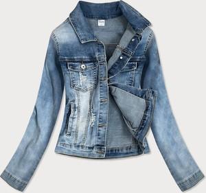 Niebieska kurtka Goodlookin.pl z jeansu krótka w stylu casual