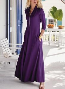 Fioletowa sukienka Cikelly maxi z długim rękawem z dekoltem w kształcie litery v