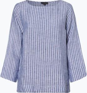 Niebieska bluzka Franco Callegari z okrągłym dekoltem z długim rękawem