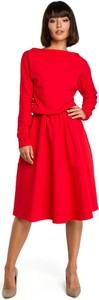 Czerwona sukienka BeWear rozkloszowana midi