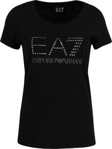 T-shirt EA7 Emporio Armani z okrągłym dekoltem z krótkim rękawem