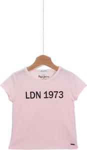 Różowa koszulka dziecięca Pepe Jeans z dzianiny