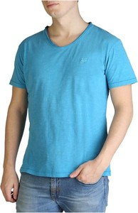 Niebieski t-shirt Yes Zee z krótkim rękawem w stylu casual