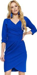 Niebieska sukienka Makadamia kopertowa z dekoltem w kształcie litery v z długim rękawem