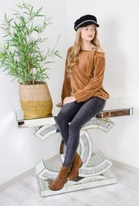 Brązowa bluzka Olika z długim rękawem