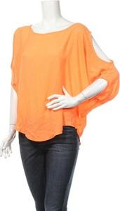 Pomarańczowa bluzka Vangelica z okrągłym dekoltem