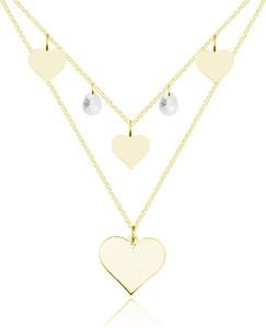 Lian Art Naszyjnik kaskadowy podwójny z sercami i kryształem Swarovski® - 24k złocenie