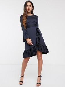 Granatowa sukienka Closet z długim rękawem mini
