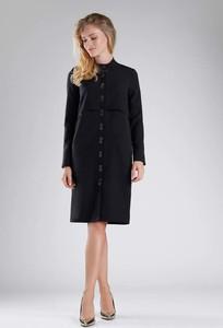 Czarna sukienka Nommo z długim rękawem szmizjerka midi