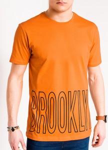 Pomarańczowy t-shirt Edoti z nadrukiem z krótkim rękawem