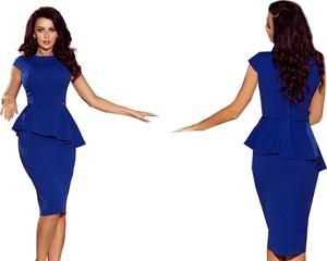 Niebieska sukienka NUMOCO z okrągłym dekoltem ołówkowa midi