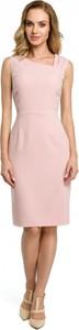 Różowa sukienka MOE ołówkowa midi z wełny