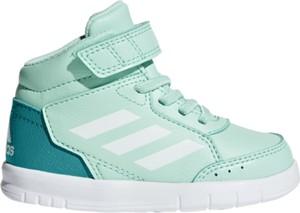 Miętowe buty sportowe dziecięce Adidas sznurowane