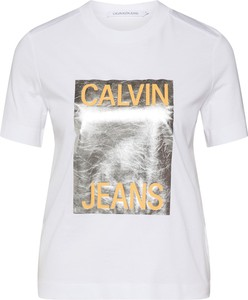 Bluzka Calvin Klein z okrągłym dekoltem w młodzieżowym stylu