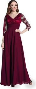 Sukienka Camill Fashion z długim rękawem z dekoltem w kształcie litery v z tkaniny