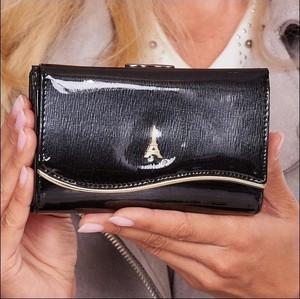 Czarny portfel Paris Design w stylu glamour ze skóry