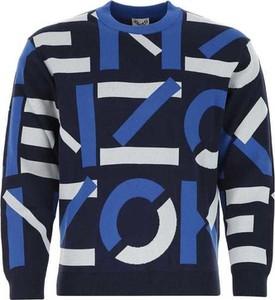 Niebieski sweter Kenzo z okrągłym dekoltem w młodzieżowym stylu z wełny
