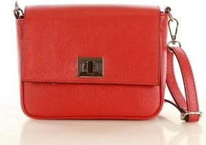 Czerwona torebka Merg średnia matowa na ramię