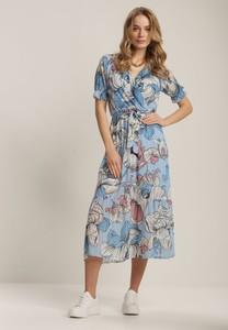 Sukienka Renee midi z okrągłym dekoltem z krótkim rękawem