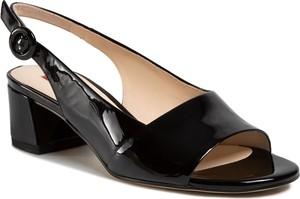 Czarne sandały Hogl w stylu glamour ze skóry