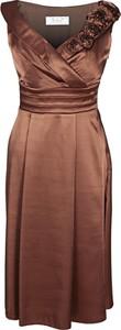 Brązowa sukienka Fokus midi z dekoltem w kształcie litery v