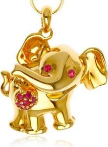 Braccatta KARI ; Srebrny wisiorek słoń z rubinami