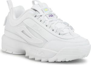 Buty sportowe Fila ze skóry sznurowane na platformie