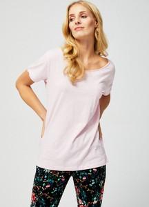 T-shirt Moodo z okrągłym dekoltem z krótkim rękawem z bawełny