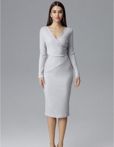 Sukienka Figl z dekoltem w kształcie litery v dopasowana midi