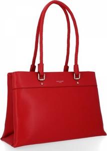 Czerwona torebka David Jones na ramię w stylu glamour duża