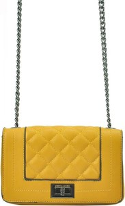 Żółta torebka Pierre Cardin mała pikowana w stylu casual